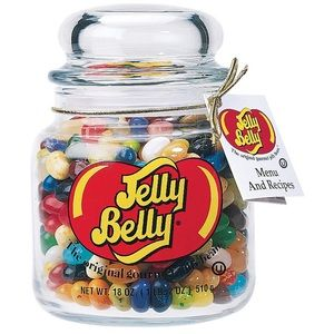 Jelly belly beans glass jar decorative